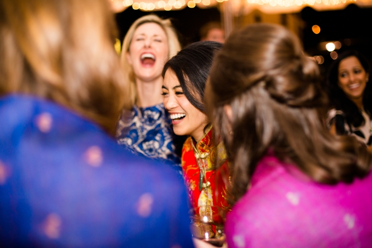 Bride laughs with her friends during reception, memphis TN wedding