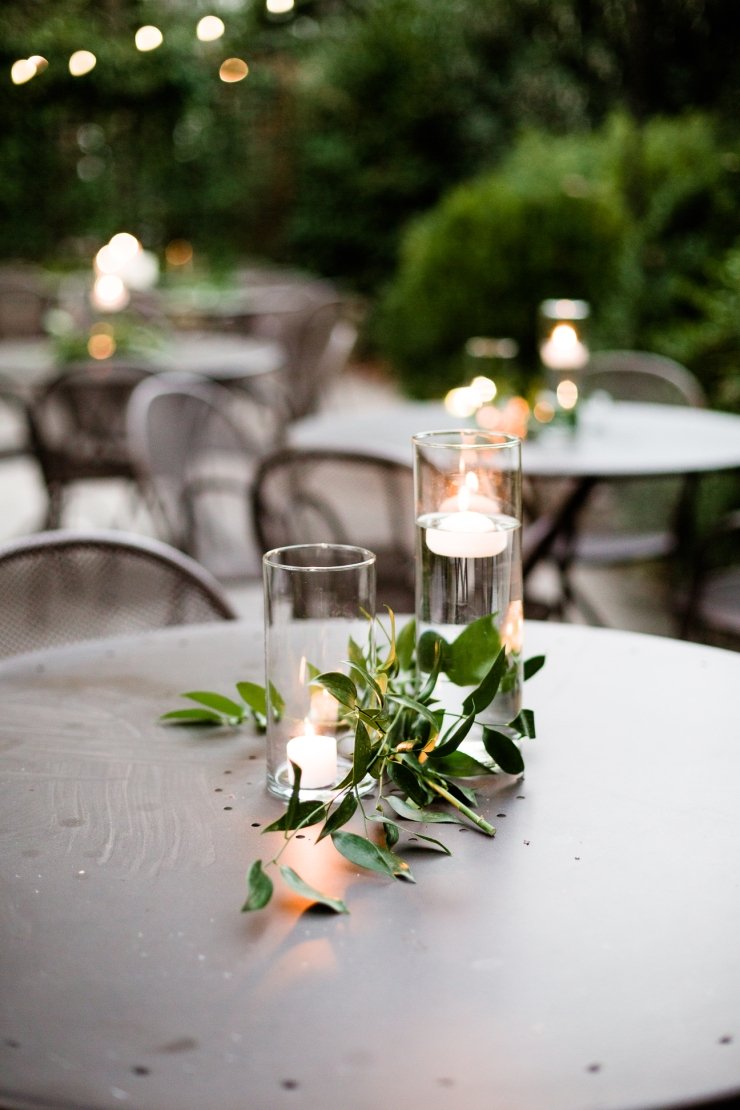candles and greenery at outdoor reception, Acre Restaurant, Memphis TN Wedding, Detail shot