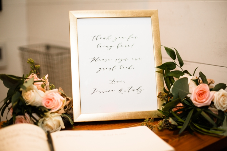 calligraphy sign at guest book table, Memphis Reception, reception details and florals, Detail shot